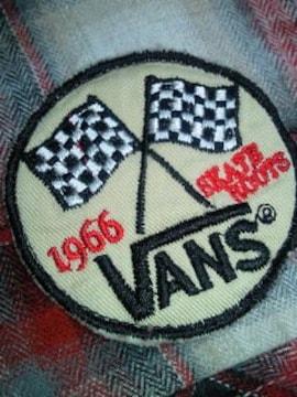 VANS ヴァンズ ネルシャツ シャツ レッド ホワイト ブラック Lサイズ 柔らか ワッペン