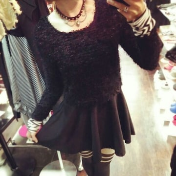 送料無料girlstyle☆ラメシャギー重ね着風フェレアミニワンピース