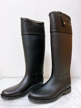黒合皮長靴雨ラバーブーツレインブーツロングブーツブラック