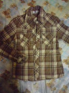 長袖チェックシャツ 薄手 茶色系 美品激安