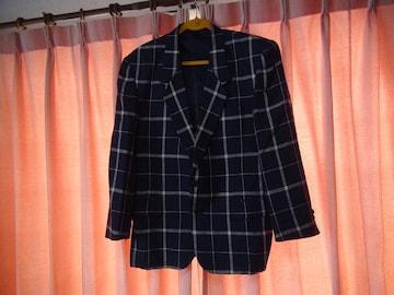 LECCO men,sのブレザー(M)日本製 紺で白のチェック柄!。