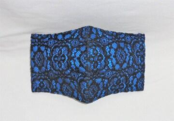 即決◆大サイズ◆バロック花ラッセルレース黒×コバルトブルー地◆ファッションマスク
