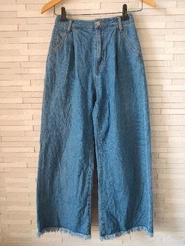 ブラウニー コットンデニム ワイドパンツ 裾フリンジ M