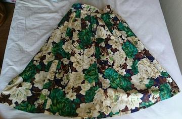 緑 茶 白 花柄バラ柄 ボタニカルプリントひざ下フレアースカート
