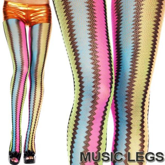 A633)MusicLegsジグザグストライプマルチカラータイツレインボーストッキング派手ダンス  < 女性ファッションの