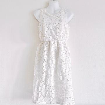 ROYALPARTYロイパフラワーケミカルレース白花ワンピースドレス