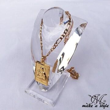 ブッダ 仏教 フィガロ チェーン 金ゴールド GOLD ネックレス 586