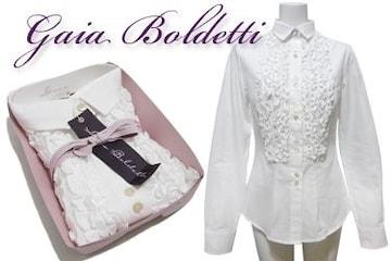 新品Gaia Boldettiイタリア製フリルシャツブラウス白#40#42