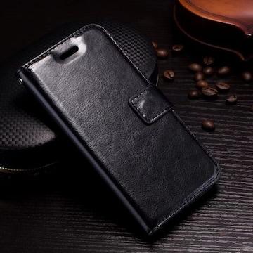 iPhone7 8 手帳型ケース レザー フォトフレーム フィルム 黒色