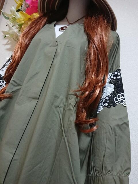 ★新品タグ6L★7分袖★お洒落レース★ブラウジングチュニ¥6589