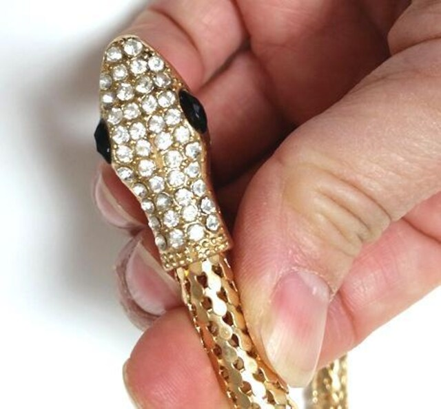 新品[7822](色ゴールド)キラキラスネークブレスレット/蛇/パンク/ネックレスにも < 女性アクセサリー/時計の