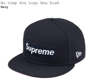 【 7-3/8 】Supreme No Comp Box Logo New Era Navy ネイビー