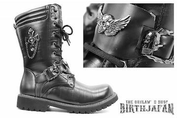 送料込 ロングブーツ 靴 メンズ シューズ カジュアル オラオラ ホスト 109 黒 25.5