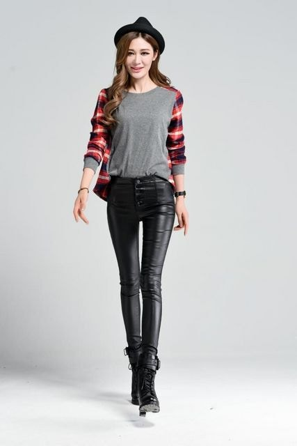 XXLサイズ★伸縮性抜群★フェイクレザーパンツ < 女性ファッションの