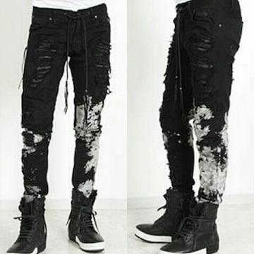 新品KMRIIケムリ SNAKE&GOATLEATHER Splash Crush Skinny Pants 2