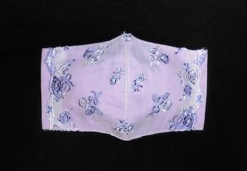◆即決◆大◆紫白薔薇・リボン刺繍レース・スカラップ×紫下地◆ファッションマスク