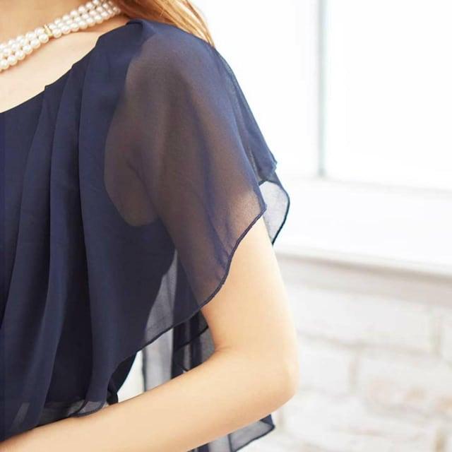 000090 新品未使用パーティードレスバイカラー フレアスリーブタイトミニドレス ベルト付 < 女性ファッションの