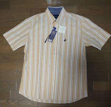 送料込!新品タグ付、メンズM寸、半袖オープンシャツ、イエロー
