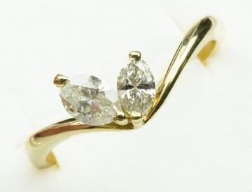 【鑑別】K18 マーキス 0.50ct ダイヤモンド リング 13号
