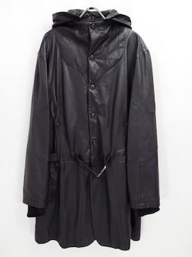ジャンフランコフェレ レザー フード コート メンズ 54 大きいサイズ