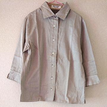 NICE CLAUPナイスクラップピンストライプ七分袖シャツ