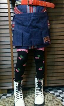 即決レベルコードユニオンジャックデニムスカート!ゴシックパンクロックきゃりー木村カエラ