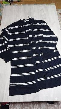 新品◆羽織ロングガーデ LL ネイビーボーダー