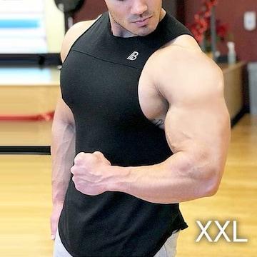 【ブラック・XXL】タンクトップ メンズ トレーニングウエア