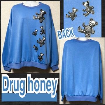 【新品/Drug honey】FUCKテディプリントプルオーバー