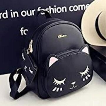 ブラック 猫 ミニリュック デイバッグ 肩掛けバッグ 双肩鞄 レデ