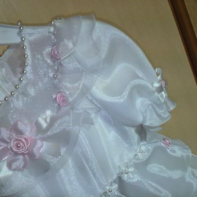 キッズ白フリル ドレス 3才用 七五三・お祝い・結婚式等に < キッズ/ベビーの