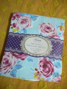 お肌に優しい ガーゼ フェイスタオル サックス薔薇柄日本製