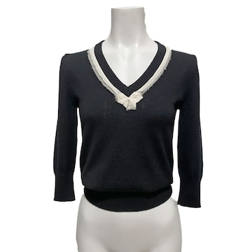 新品D&G  Vネック 上品な5分袖カシミアセーター 黒 #XS