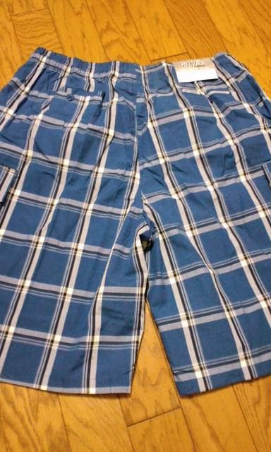 LA直輸入!SHAKAデザインチェックハーフカーゴパンツ青 4XLXXXXL �A�@ < 男性ファッションの