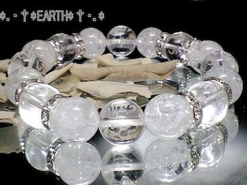 天然石★12ミリ素彫り六字真言水晶&クラック爆裂水晶