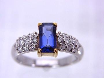 即買 Pt 0.92ct サファイヤ ダイヤモンドリング 9.5号 r-137 仕上げ済★dot