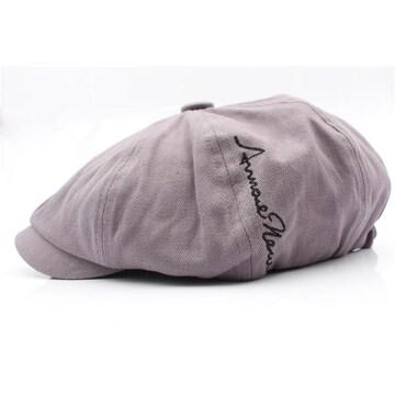 キャスケット帽子 サイド刺繍デザイン ハンチングGY KJ4-3