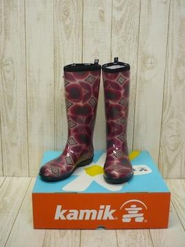 即決☆カミック TULIPE レインブーツ RED/25cm カナダ製 長靴