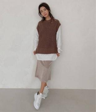 ●ALEXIA STAM●サテンロングスカート/モカ/sizeS