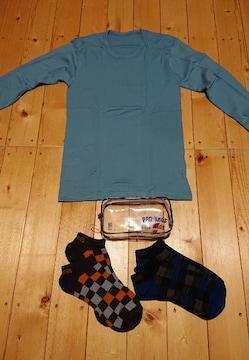 新品未使用★男児長袖インナーシャツ/肌着+ソックス+ポーチ★4点まとめ売り140