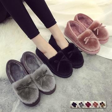 ふわふわ ムートンシューズ 秋冬 パンプス 靴 レディース