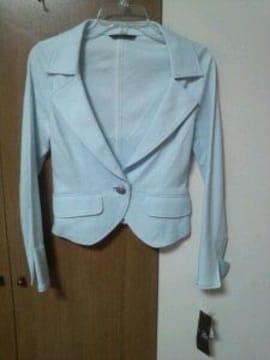 水色春夏ジャケット国産上品シルバーボタンストレッチS7〜9号