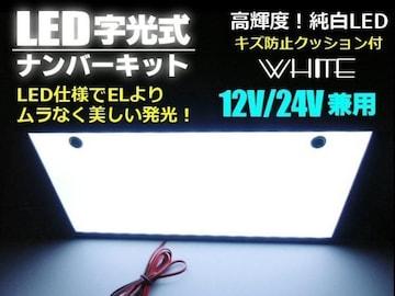 激白美発光!12v24v兼用/超薄型LED字光式ナンバープレート