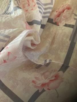 LANVINランバン シルクスカーフ薔薇ロゴマークp/g