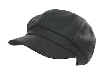 M925  コットン 混 シンプル キャスケット Cap 帽子  黒