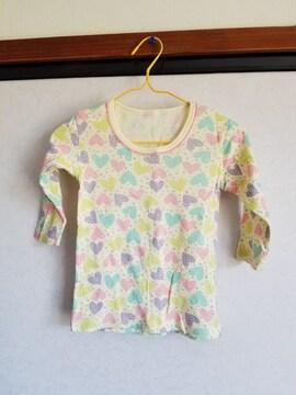クリーム色にカラフルドットハートの長袖シャツ95