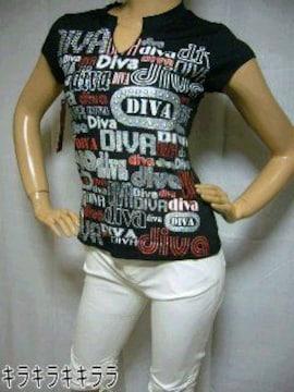 *Diva*キラキラ*ラメ★ロゴプリTeeシャツブラックM
