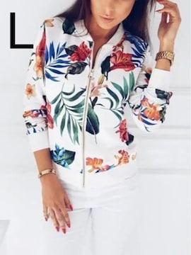 新品☆花柄JIP 綺麗ジャケット ホワイト L