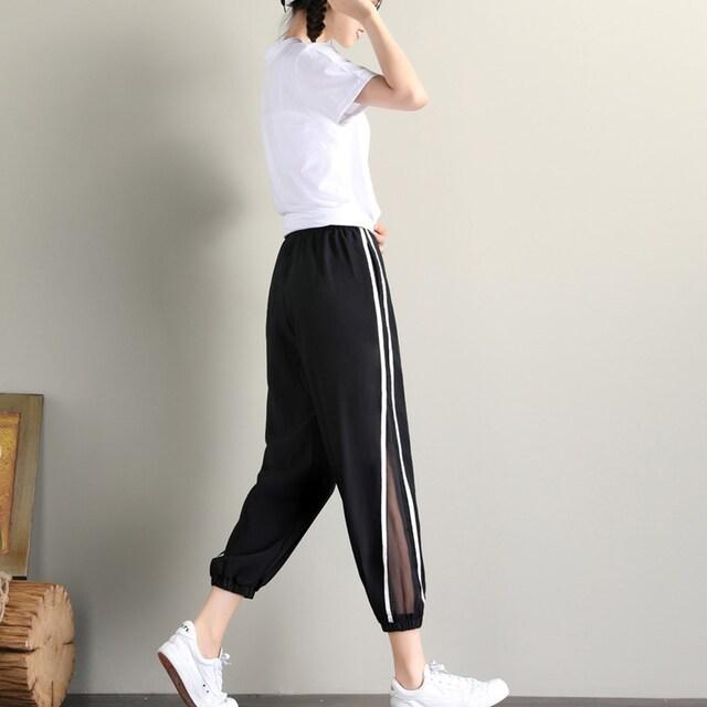 ☆ラフでスポーティーな印象♪一風変わったサイドラインパンツ/全1色 M/L/XL < 女性ファッションの