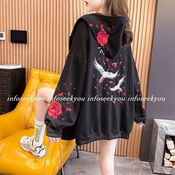 LL3L大きいサイズ/ZIP鶴バラ刺繍パーカー